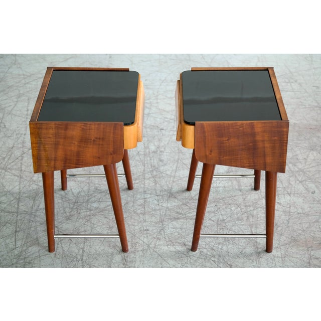 Pair of Danish Midcentury Nightstands in Teak and Elm With Black Glass Top For Sale - Image 9 of 11