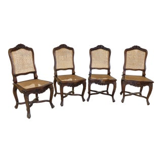 Vintage French Country Carved Wood & Caned Dining Chairs- Set of 4 For Sale