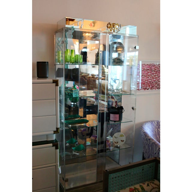 Mid Century Modern Tall Lucite, Glass, Mirror and Chrome Cabinet w/ Lighting - Image 3 of 6