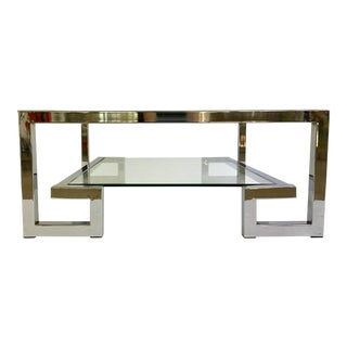 1970s Modern Chrome Greek Key Coffee Table For Sale