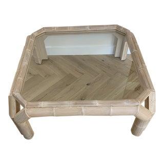 Vintage Postmodern Geometric Bamboo + Glass Coffee Table For Sale