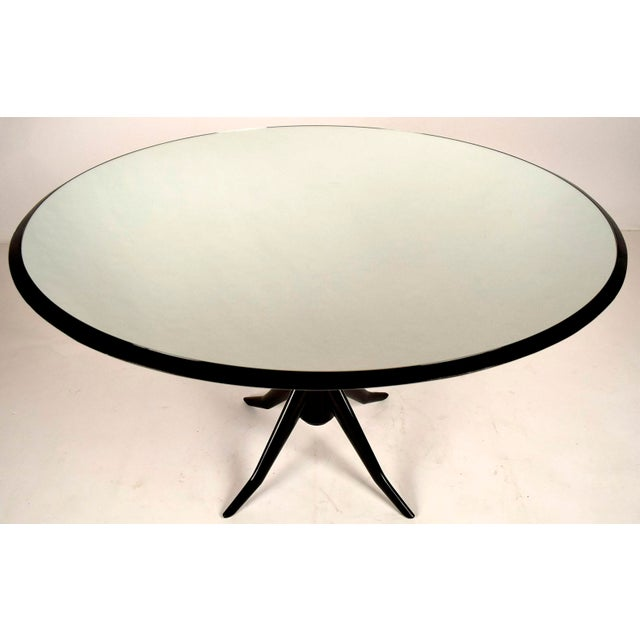Vintage Laquered Round Mirrored Top Dining Table For Sale - Image 4 of 9