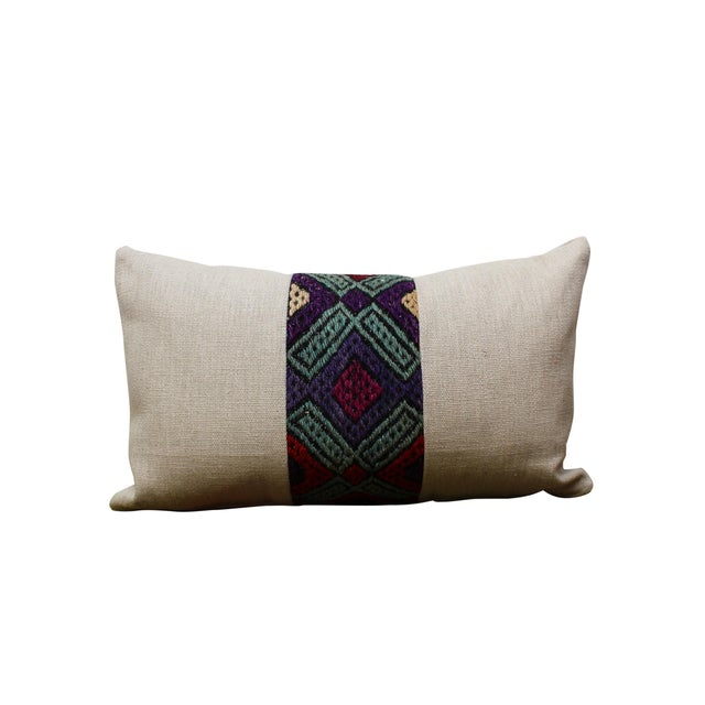 Soft linen kidney pillow with vintage Kilim band down the front and back. Only ONE pillow available Local Pickup is...