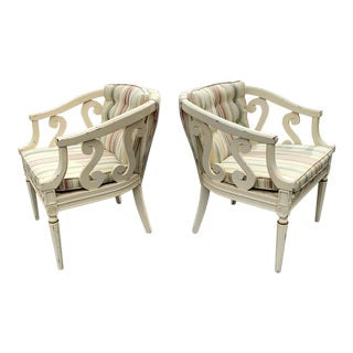 Pair of Dorothy Draper Style Regency Arm Chairs For Sale