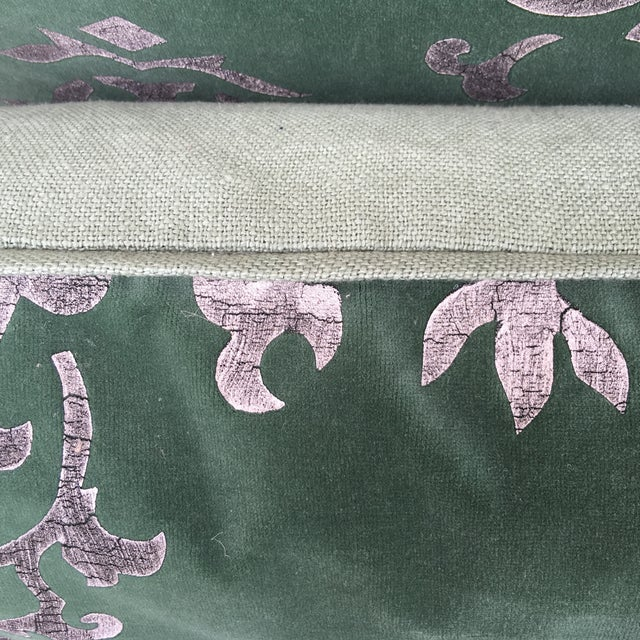 Silver Stencil Green Velvet Pillows - A Pair - Image 5 of 6