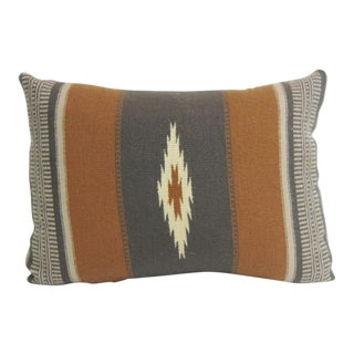 Vintage Gray and Brown Southwestern Style Woven Bolster Pillow For Sale