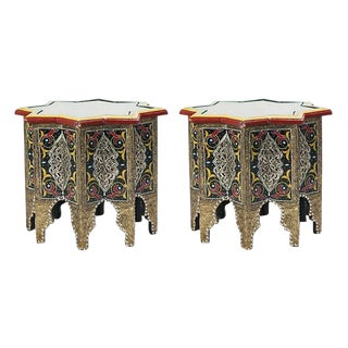 Moorish Hand-Painted Brass Inlaid Black Side Tables - a Pair For Sale