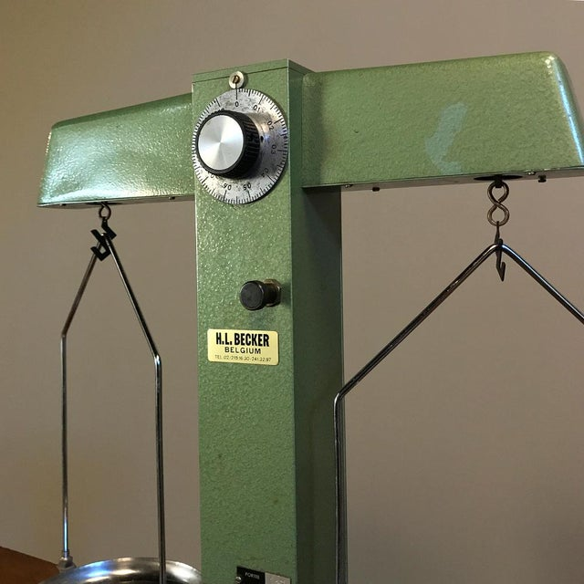 Industrial Antique Commercial Balance Scale by H. L. Becker in Brussels For Sale - Image 3 of 10