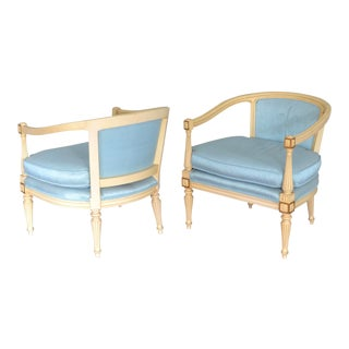 1960s Vintage Hollywood Regency Round Back Chairs - a Pair For Sale