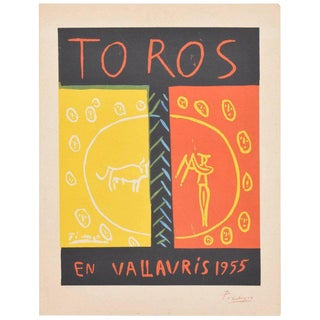 Picasso Linocut Toros Vallauris 1955 36/100 Signed Picasso Arnera