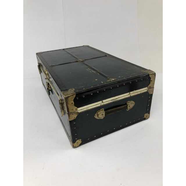 Vintage Vulcanized Black Steamer Trunk With Tray For Sale - Image 6 of 12