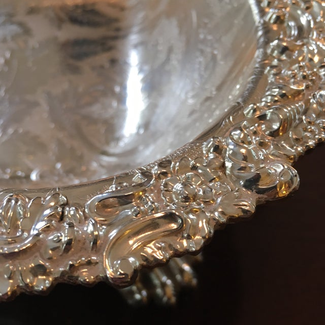 Barker Ellis Hand Applied Silver Tray For Sale - Image 9 of 13