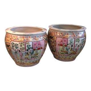 Vintage Famille Rose Fishbowl Planters - A Pair For Sale