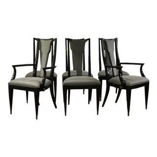 Deco Style Black Lacquer Dining Chairs - Set of 6 For Sale
