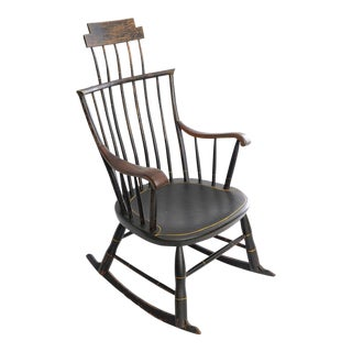 Antique American Black Painted Wood Windsor Rocking Chair