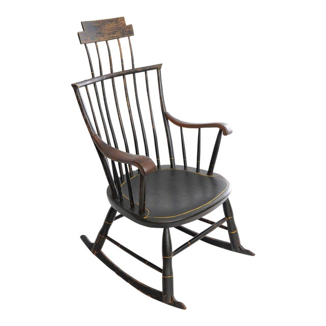 Antique American Black Painted Wood Windsor Rocking Chair - Antique American Black Painted Wood Windsor Rocking Chair Chairish