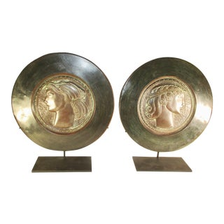 Male and Female Decorative Copper Plaques - a Pair For Sale