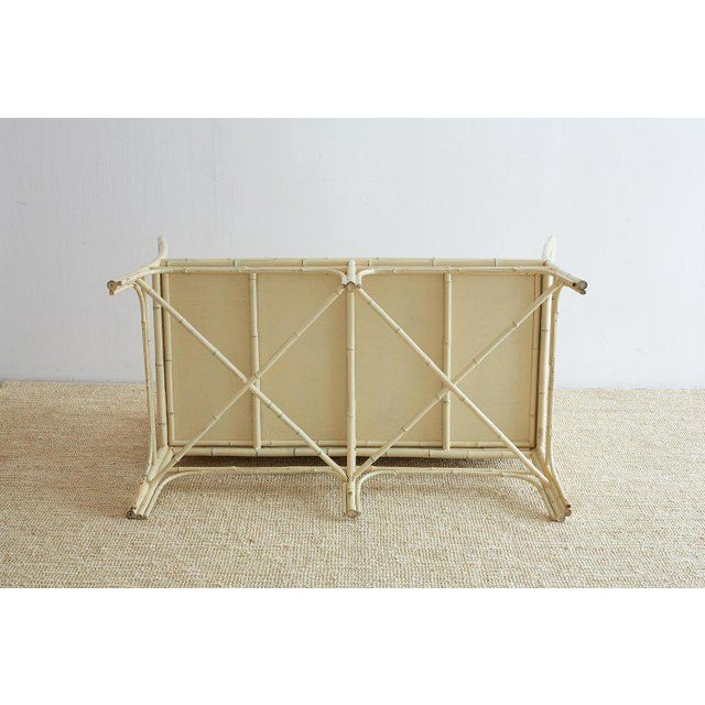 Hollywood Regency Lacquered Bamboo Settee or Bench For Sale - Image 12 of 13