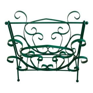 Mid-Century Modern Green Wrought Iron Magazine Rack For Sale