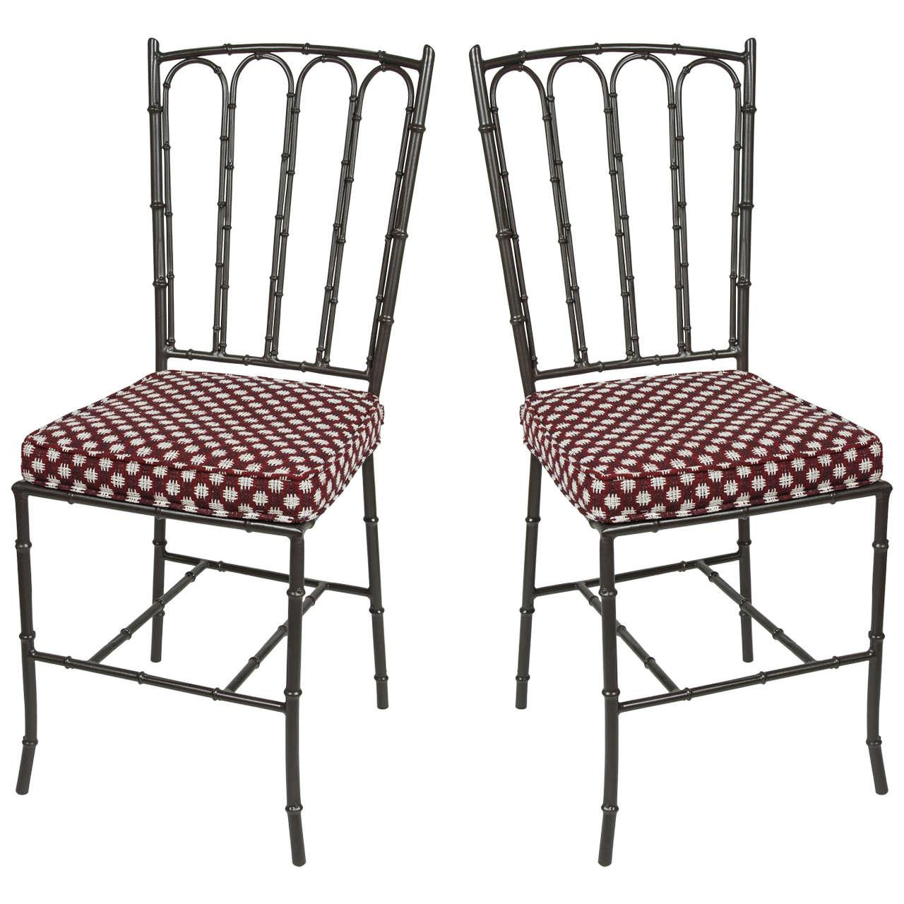 Metal Faux Bamboo Chairs   Pair For Sale