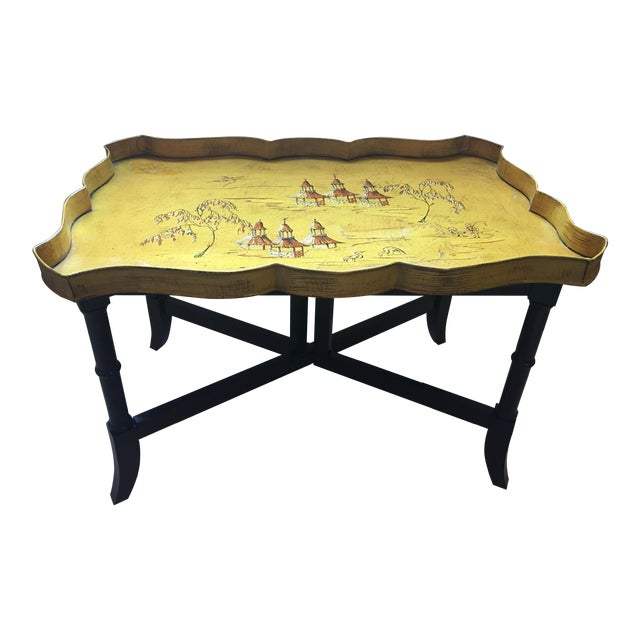 Yellow Pagoda Tole Tray Table - Image 1 of 7