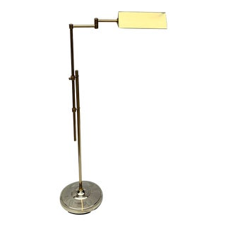 Vintage Elsy Brass Adjustable Pharmacy Floor Lamp For Sale