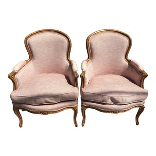 1920's French Light Pink Upholstered Walnut Bergere Chairs - a Pair For Sale
