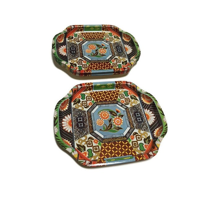Blue Mid Century Snack Trays Chinoiserie Vanity Trays - Set of 6 For Sale - Image 8 of 11