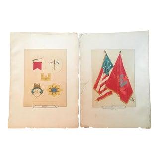 19th Century Lithographs of Civil War Era Military Flags - a Pair For Sale