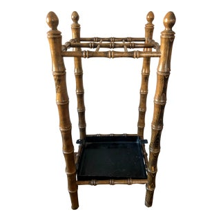 Antique Regency Faux Bamboo Umbrella Stand For Sale