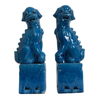 Turquoise Foo Dogs - a Pair For Sale