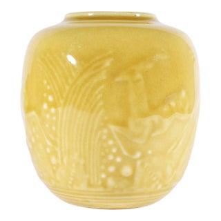 1941 Rookwood Pottery Yellow Vase With Gazelle Design For Sale