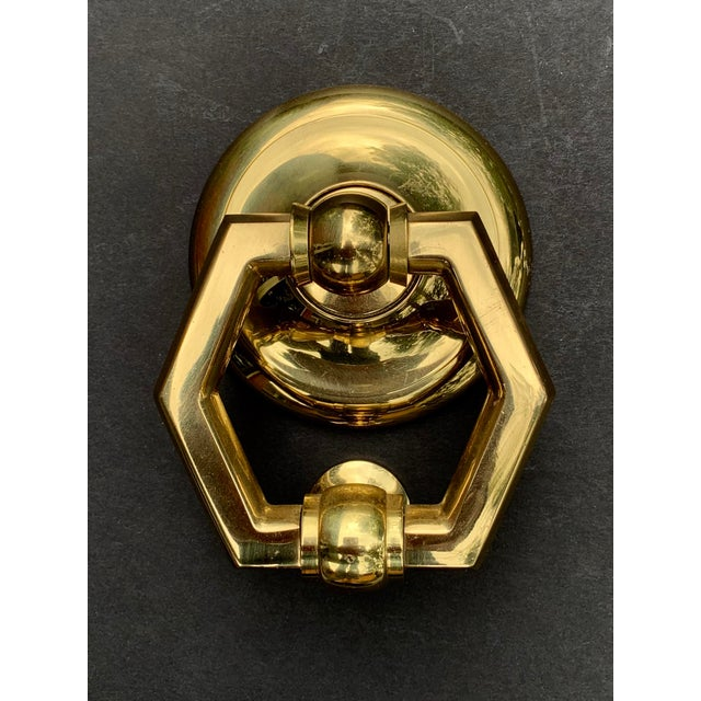 Gorgeous traditional polished and lacquered brass door knocker. Classic hexagonal ring design. Made in Italy. Hardware...