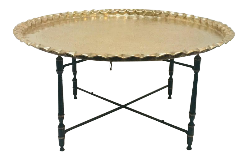 Large Moroccan Round Brass Tray Table On Folding Stand
