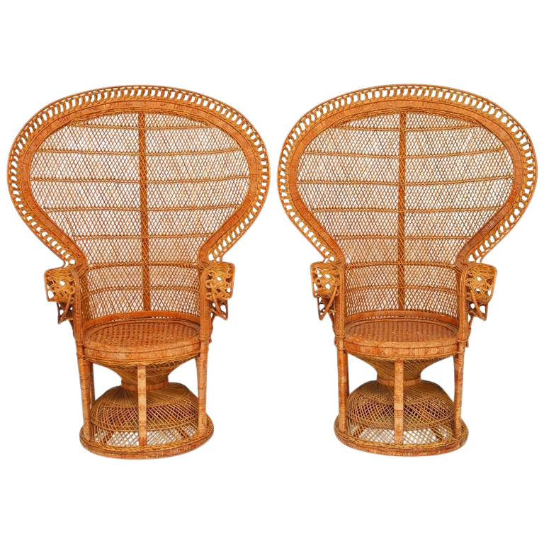 Rattan Emmanuel Peacock Chairs   A Pair For Sale