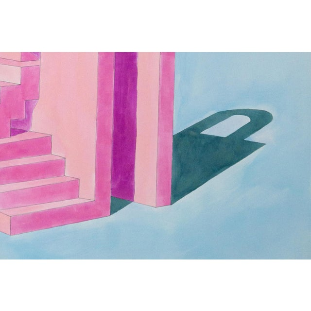 2020 Ryan Rivadeneyra,Pink Building on Blue Watercolor on Paper - Pastel Palette Architecture For Sale In Miami - Image 6 of 8