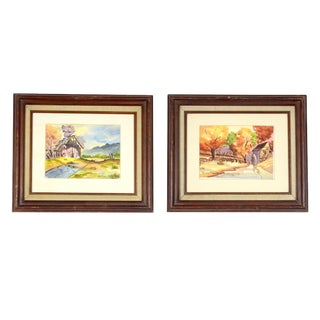 Mid-Century Autumn Barns Watercolor Paintings - A Pair For Sale