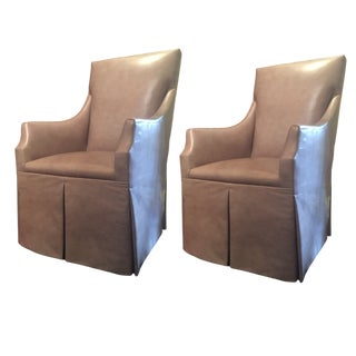 Pair of Skirted Host Chairs Featuring Edelman Leather For Sale