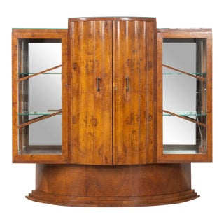 English Art Deco Epstein Brothers (Attr.) Burl Wood Bar Cabinet For Sale