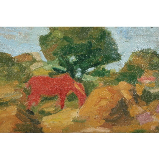 Abstract 1946 Orla Muff Expressionist Pastoral Scene For Sale - Image 3 of 5