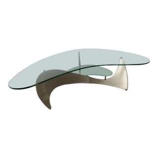 Modern Two-Tier Brushed Steel and Glass Biomorphic Shaped Coffee Table For Sale