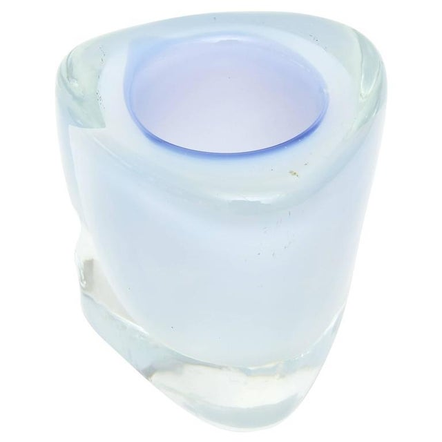 Glass Italian Murano Opalescent Sommerso Glass Vessel/Small Vase For Sale - Image 7 of 10