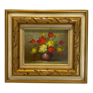 Vintage Flowers in Vase Still Life Oil Painting For Sale
