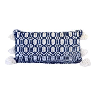 Boho Chic Indigo and White Woven Pillow For Sale