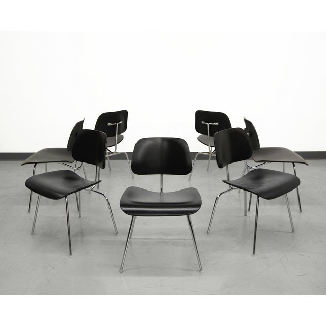 Set of 7 Authentic Eames Herman Miller Dcm Black Ebony Mid Century Dining Chairs For Sale - Image 5 of 8