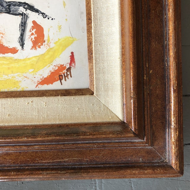 Original painting on Masonite Signed lower right 16 x 20 Overall size with great vintage frame is 26 x 30