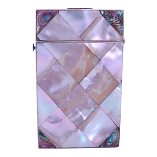 Mother of Pearl Marquetry Card Case With Contrasting Abalone Corners For Sale