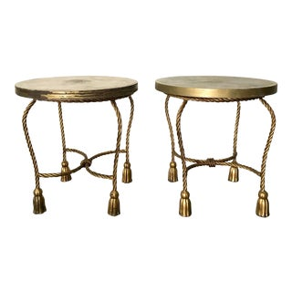 1960s Hollywood Regency Tole Tassel Rope Side Tables - a Pair For Sale
