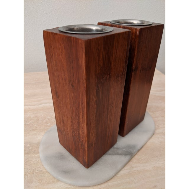 Donald Judd Organic Modernist Minimalist Wood Block Tealights, a Pair For Sale - Image 4 of 10