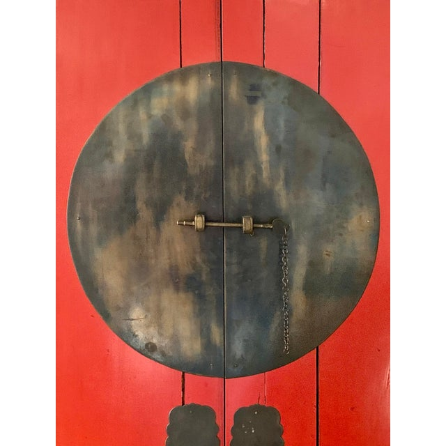 Chinese Red Lacquered Armoire Cabinet For Sale - Image 4 of 11